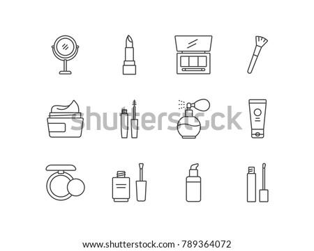 Beauty and cosmetic line icons set with makeup mirror, lipstick, eyeshadows, brush, cream, mascara, perfume, powder, nail polish, foundation.