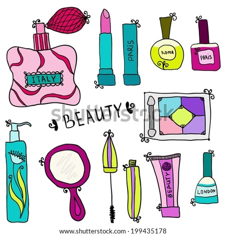 Beauty and cosmetics icons vector doodles on a white background