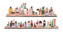 Beauty and skincare cosmetic products, decorative cosmetics, makeup items, perfumery and toiletries in bottles and tubes on shelves. Colored flat vector illustration isolated on white background