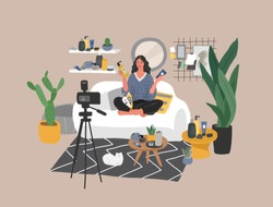 Beauty blogger streaming. Woman review cosmetics sit in scandinavian home and creating content for blog or live broadcasting. Makeup, skincare, fashion tutorial. Blogging or vlogging. Cartoon vector