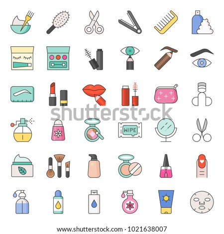 Beauty, body cares products and cosmetics icon set, thin line