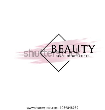 beauty brush logo icon vector