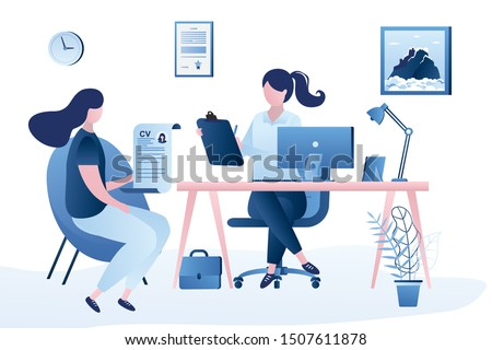 Beauty businesswoman boss or HR specialist having an interview with job applicant. Job interview, employment process, choosing a candidate concept. Female candidate with cv resume.Vector illustration