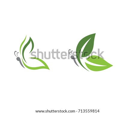 beauty butterfly with leaf logo