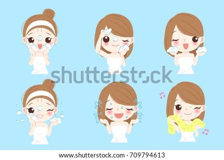 beauty cartoon skin care woman