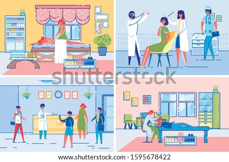 Beauty Clinic Procedures and Reception Hall Scenes with Different Specialists Cartoon Characters. Masseuse, Cosmetologist and Hair Treatment Doctor Consultation. FLat Vector Illustrations Set.