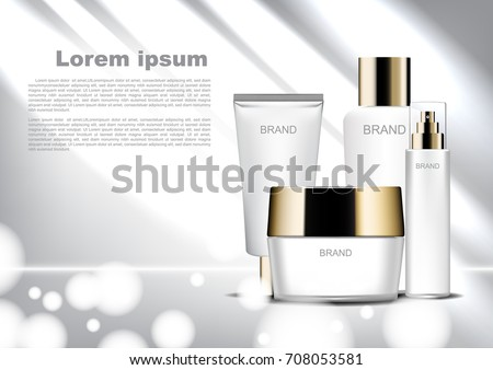 Beauty cosmetic ads template, white cosmetic set with shining light and bokeh