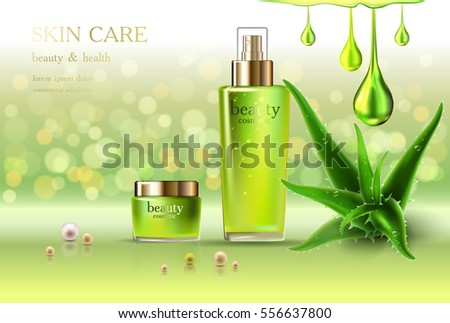 Beauty cosmetic product poster, aloe vera cream ads, makeup template, golden bottle package skin care cream or liquid. Sparkling green shiny glitter background 3D Vector stock illustration.