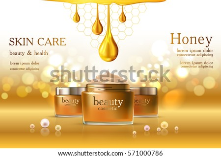 Beauty cosmetic product poster, golden honey yellow cream ads, makeup template, gold bottle package, skin care cream or liquid. Sparkling shiny glitter background 3D Vector stock illustration .