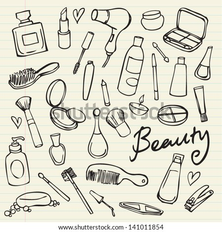 beauty   cosmetics icons vector