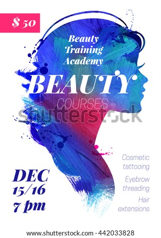Beauty courses and training poster. Watercolor beautiful acrylic girl silhouette. Vector illustration of woman beauty salon design