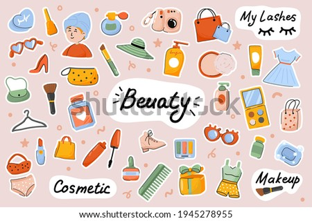 Beauty cute stickers template set. Bundle of face and body care procedures, routine, cosmetics, female makeup, stylish outfits. Scrapbooking elements. Vector illustration in flat cartoon design
