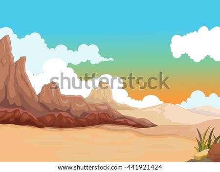 beauty desert with landscape