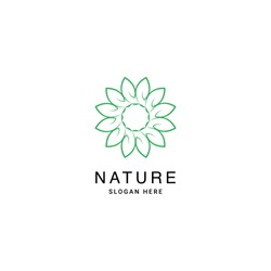 Beauty Elegant Simple Balance Star Flower for Nature Cosmetic logo design