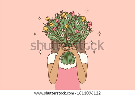 Beauty, fashion, gift, love concept. Young african american woman girl cartoon character covering face hiding behind the bouquet of flowers. Fashionable lifestyle and womens day present illustration. Foto d'archivio ©