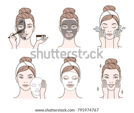 Beauty fashion girl apply different facial masks. Line style vector illustration isolated  on white background.