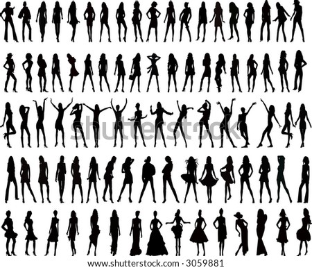 Beauty fashion  silhouettes women  - vector