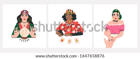 Beauty Fortune tellers. Gypsy oracle. Mystic ladies. Women are telling the future by seeing the hand, crystal ball and cards. Set of three Hand drawn vector trendy illustrations