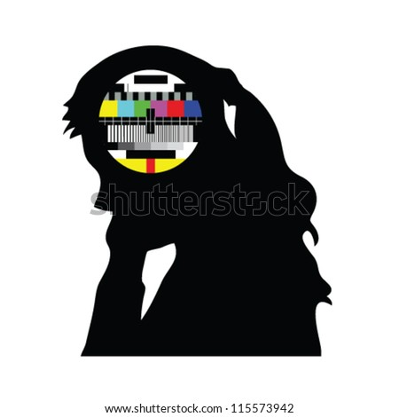 beauty girl and tv test vector illustration