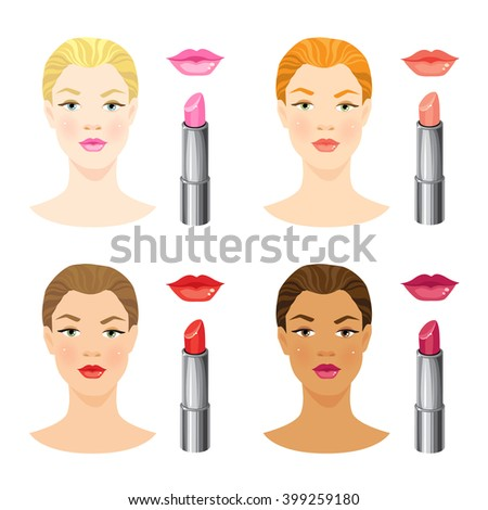 beauty girl face with different