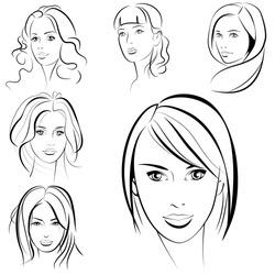 Beauty girl. Fashion beautiful woman face. Set.