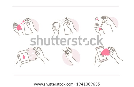 Beauty Girl Hands Holding Containers and Bottles with Skincare Products. Facial Cleanser, Serum, Sheet Mask and other Facial Hygienic Cosmetics. Flat Line Vector Illustration and Icons set.