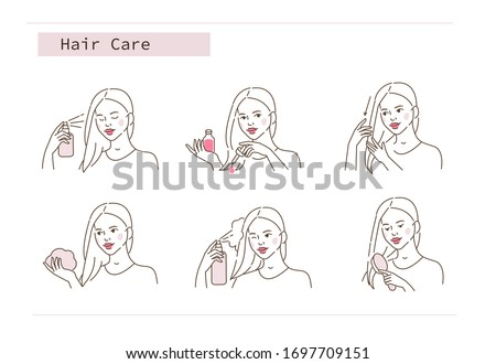 Beauty Girl Take Care of her Damaged Hair and Applying Treatment Products. Hair Oil, Lotion, Spray, and Foam.  Woman Making Haircare Procedures.  Flat Line Vector Illustration and Icons set.