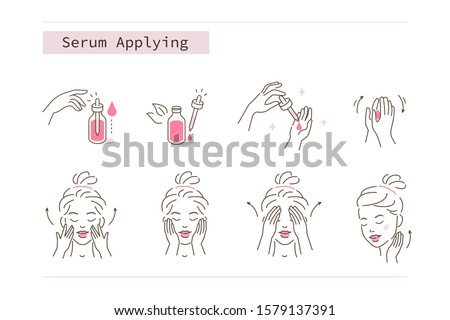 Beauty Girl Take Care of her Face and Applying Cosmetic Serum Oil. Woman Making Facial Massage by Lines. Skin Care Routine, Hygiene and Moisturizing Concept. Flat Vector Illustration and Icons set.