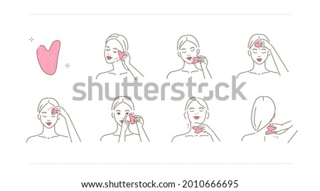 Beauty girl take care of her face and making gua sha lifting massage. Woman using jade stone for skincare procedures. Facial massage and relaxation concept.  Flat line vector illustration. Foto stock ©