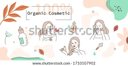 Beauty Girl Take Care of her Face and Use Cosmetic Serum Oil. Woman Applying Organic Serum on Facial Skin, on Hairs and Body. Skin Care Routine. Flat Vector Illustration and Icons set.