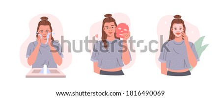 Beauty Girl Take Care of her Face and Use Facial Sheet Mask. Adorable Woman Making Skincare Procedures. Skin Care Routine, Hygiene and Moisturizing Concept. Flat Cartoon Vector Illustration.