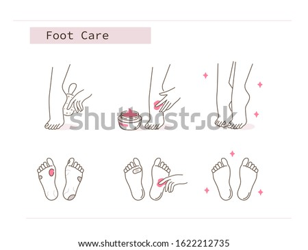 Beauty Girl Take Care of her Feet and Applying Peeling Cream. Woman Making Skincare Procedures against Foot Corn Calluses. Pedicure Spa Routine. Flat Line Vector  Illustration and Icons set. ストックフォト ©