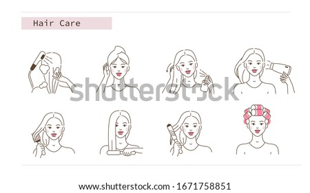 Beauty Girl Take Care of her Hair and Making Hair Styling. Woman Washing, Drying Hair with Hairdryer, Curling with Curler and Straitening with Iron. Flat Line Vector Illustration and Icons set.