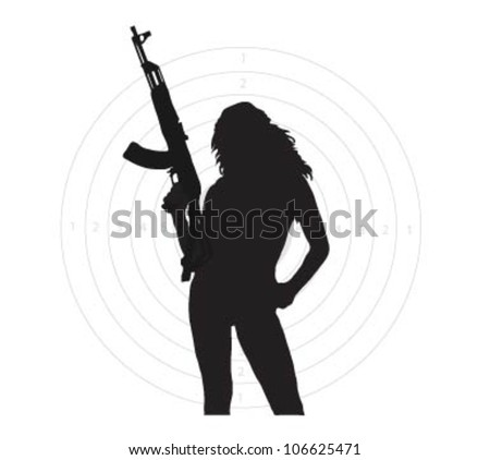 Beauty girl with weapon and target.