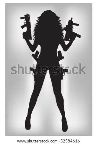 beauty girl with weapons
