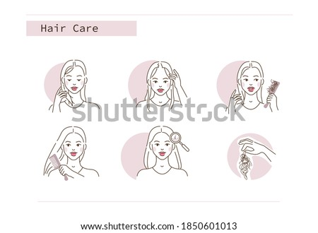 Beauty Girl Worried about Problems with her Hairs and |Scalp. Woman has Alopecia, Split Damaged Hair. Hair Loss Concept. Flat Line Vector Illustration and Icons Set.