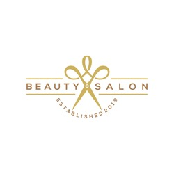 beauty haircut salon logo with scissor vector illustration design