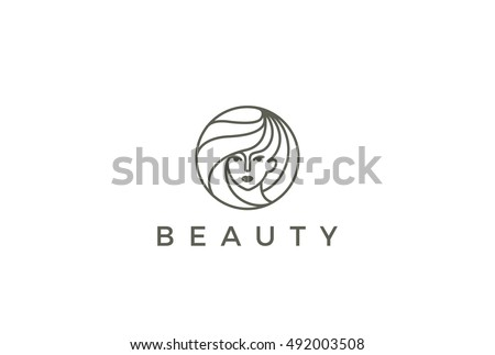 Beauty Hairdresser salon Woman Logo design vector template circle shape. SPA, Fashion, Makeup, Hairdressing girl Logotype concept icon linear style.