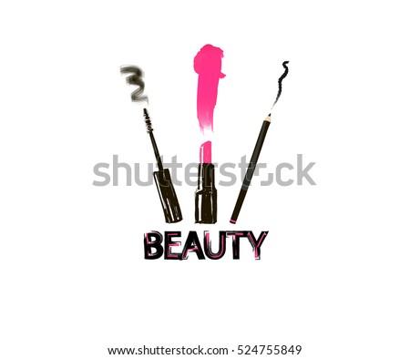beauty inscription sign set