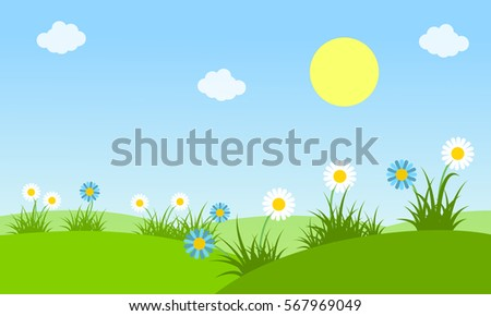 Beauty landscape at spring vector collection stock