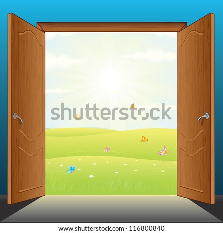 Beauty Landscape Behind the Opened Doors. 3D Vector Illustration.