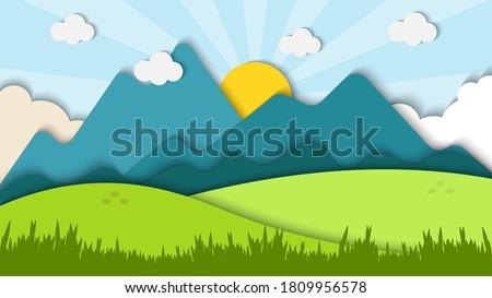 Beauty landscape paper art style with shiny background vector illustration, landscape pattern