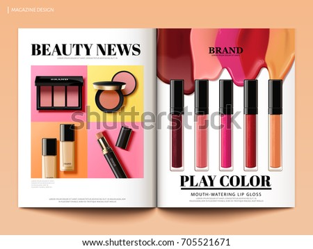 Beauty magazine design, colorful and trendy make up product news in 3d illustration, magazine or catalog brochure template for design uses