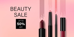 Beauty make up banner template. Lip cosmetic products with decorative lines on pink background. Advertising poster design for beauty store, blog, magazine, offers and promotion. Vector illustration.