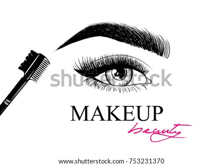 63497adb8e1 Beauty makeup. Beautiful eye with makeup accessories: brush for eyebrows  and eyelashes. Business