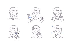 Beauty Man Taking Care of his Facial Skin. Boy Shaving Beard and Stubble with Razor, Applying Shaving Foam and Lotion. Guy Making Skincare Procedures.  Flat Line Vector Illustration and Icons set.