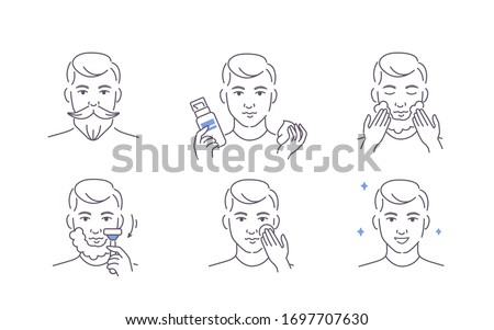 Beauty Man Taking Care of his Facial Skin. Boy Shaving Beard and Stubble with Razor, Applying Shaving Foam and Lotion. Guy Making Skincare Procedures.  Flat Line Vector Illustration and Icons set. Сток-фото ©