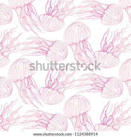 Stock Photo Beauty medusa cover. Dangerous jellyfish marine animals. Tropical underwater ocean animal pattern. Wildlife background print.  Deep ocean transparent life. Vector art
