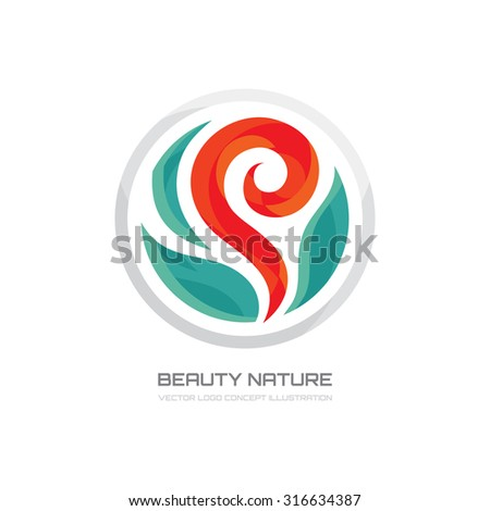 Beauty nature - vector logo template creative illustration. Flower, leaves sprout sign. Design element.