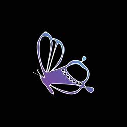 Beauty On Butterfly Side View Design blue gradient vector icon